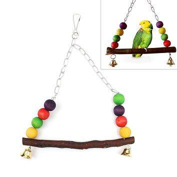 Parrot Cockatiel Birds Wood Swing Stand Cage Decor Hanging Toys Pet Supplies