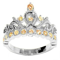 JewelsObsession's 14K Gold Princess Crown CZ Citrine Ring (November Birthstone)