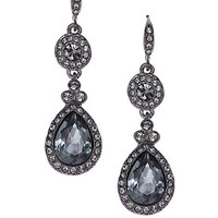 Givenchy Hematite-Tone Double Drop Stone Earrings