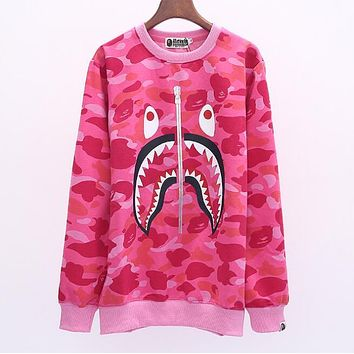 BAPE AAPE Trending Women Men Stylish Shark Mouth Pink Camouflage Long Sleeve Round Collar Velvet Sweater Top Sweatshirt