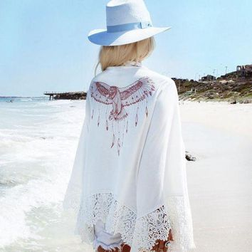 DKLW8 New long-sleeved white chiffon blouse Cover ups beach vacation sunscreen clothing cardigan cape