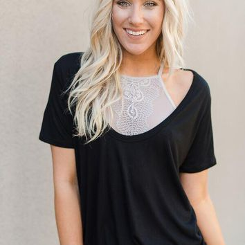 Scoop Neck Bralette Tops - Black