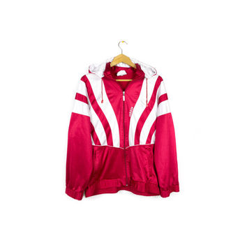 70s / 80s RARE ADIDAS hoodie track jacket - vintage west germany - detachable hood - retro athletic - red + white -