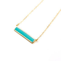 Turquoise Crystal Bar Necklace, Stone Inlay Bar Necklace, Crystal Pendant Bar, Gold Minimalist Necklace, Turquoise Necklace Bar Pendant