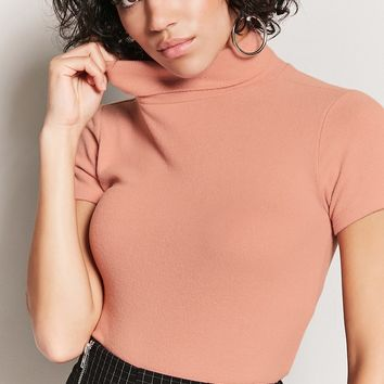 Brushed-Knit Turtleneck Top