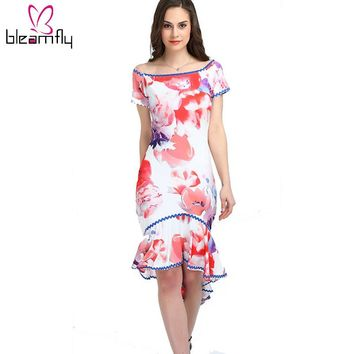 Women Summer Body con Dress Off the shoulder Floral printed Vintage short pencil Party sexy club wear Beach dresses