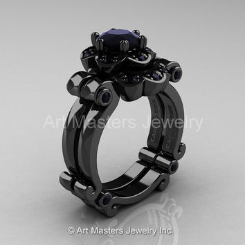Art Masters Caravaggio 14K Black Gold 1.0 Ct Black Diamond Engagement Ring Wedding Band Set R606S-14KWGBD