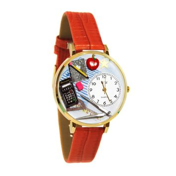Math Teacher Watch in Gold (Large)