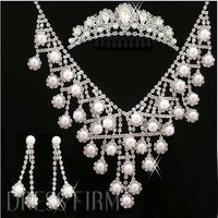 Charming Alloy with  Bright Pearl Wedding Jewelry Set(Including Tiara, Necklace and Earrings) with Trends:Dressfirm.com