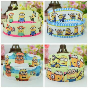 "DUWES 7/8"" 22mm 2 5 10 20 50 Yards Minions cartoon Printed grosgrain ribbon hair bow DIY handmade Retail"