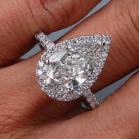 4.70ct Pear Shape Moissanite Diamond Engagement Ring 18kt White Gold JEWELFORME BLUE