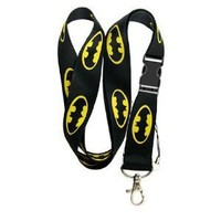 Deluxe Batman Logo Lanyard Key Chain Holder with Snap Buckle
