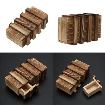 Magic Compartment Wooden Puzzle Box With Secret Drawer Baby Brain Teaser Educational Toys for Children Kids Gift