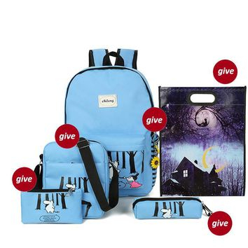 Backpacking women laptop Backpacks Set Canvas Printing Women Lightweight Bookbags Middle High School Bags for Teenage Girls