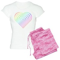 Nested Hearts, Pastel Rainbow - Girl Tease Pajamas> PJ Sets> Girl Tease