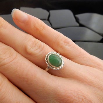 Genuine Emerald and Sterling Silver Ring, Natural Emerald Ring, Silver Rope Ring, May Birthstone Ring, Stackable Emerald Ring, Gaia's Candy