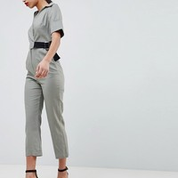 ASOS DESIGN wrap jumpsuit with grosgrain belt in linen at asos.com