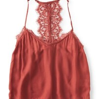 Cape Juby Solid Lace Back Cami - Aeropostale