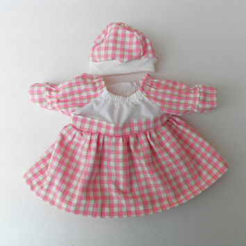 """bitty baby clothes handmade Twin Girl or Baby Doll 15"""" Easter Peach / pink green ivory plaid  2pc Outfit Dress Cap Hat spring summer"""