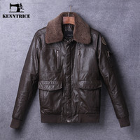 Classic Wool Collar Winter Pilot Leather Jackets Men Leather Coats Thick Bomber Jackets Zippers