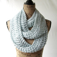 Ready To Ship Glacier Ice Blue Cowl Scarf Fall Winter Women's Accessory Infinity 114