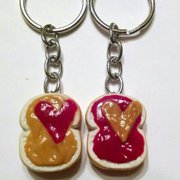 Peanut Butter and Strawberry Jelly Hearts Keychains, Polymer Clay, BFF, Food