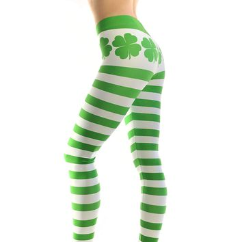 Saint Patricks Day Shamrock Clover Leggings