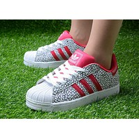 Originals Adidas Superstar Men's Women's Classic Sneaker Sprot Shoes Grey / Red / Whit