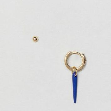 Orelia gold plated blue single horn charm earring at asos.com