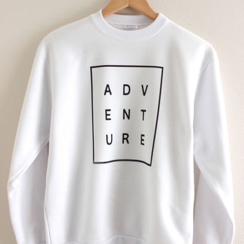 ADVENTURE White Graphic Crewneck Sweatshirt