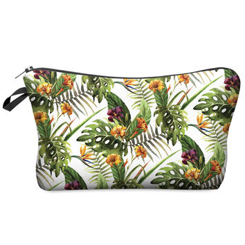 Classic Tropical Flora Print Makeup Bag Purse Organizer