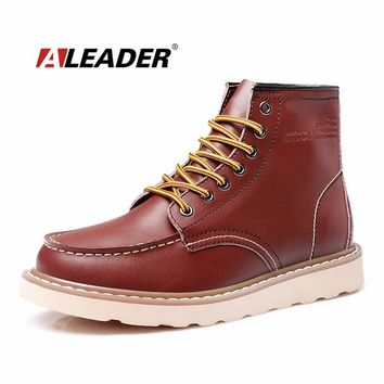 ALEADER Waterproof Men's Ankle Boots 2017 Fashion Warm Martin Boots Men Snow Fur Boots Men Casual Shoes Western Motorcycle Boots
