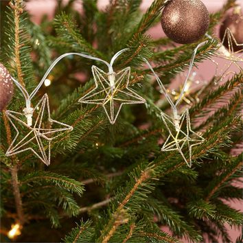 TWO'S COMPANY GLITTER STAR STRING LIGHT IN GIFT BOX INCLUDES 10 LIGHTS