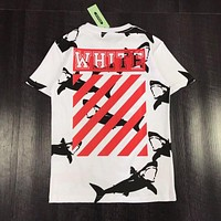 OFF-WHITE Stylish Women Men Personality Shark Print Pure Cotton T-Shirt Top White