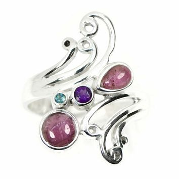 Sterling Silver Pink Tourmaline, Amethyst and Blue Topaz Swirl Statement Ring