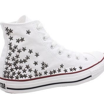 Studded Converse, Converse White HIgh Top with Gunmetal Star Studs by CUSTOMDUO on ETS