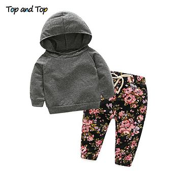 Autumn Baby Girl Boys Clothes Set Newborn Leopard Print Sports Hooded Coat Pants Outfits Sets Infant Clothing