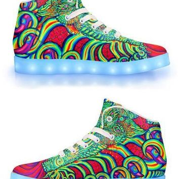 PSYCHEDELIC CAT EYE BY ALEX ALIUME - APP CONTROLLED HIGH TOP LED SHOES