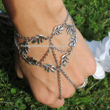 Elven Jewelry Leaf Slave Bracelet, SOLDERED STEEL, Bracelet Ring, Peace and Love, Hippie Bracelet, Hippie Jewelry, Woodland Jewelry, Vine