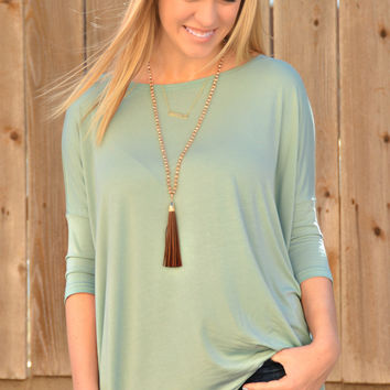 Piko 3/4 Length Sleeve Top- Seafoam