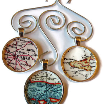 Custom Map Ornament Charms, Set of Three map ornaments personalized with your favorite locations