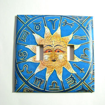Double Light Switch Cover - Light Switch Plate Sun Zodiac