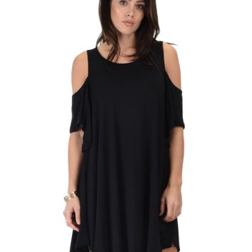 Sun Kissed Cold Shoulder Draped Tunic Dress
