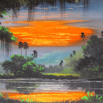 Original Painting Sunset Painting Palm Tree Painting Original Landscape Oil painting Florida  Firesky Tropical Sunset