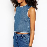ASOS Denim Raw Hem Co-ord Wrap Back Top
