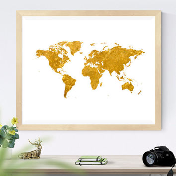 Printable Gold World Map, Traveler Gift, Gold Foil Poster, Modern Decor Gold World Map Print, gold map decor, gold wall art, Globe Print
