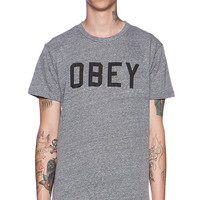 Obey Collegiate Obey Tee in Gray