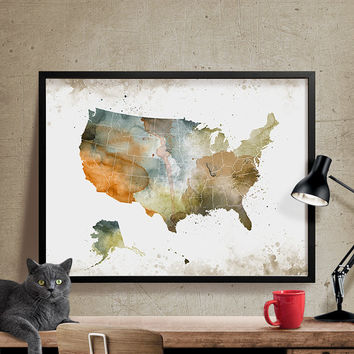 USA Map, Watercolor USA Poster, United States Artwork, Usa Map Print, Poster, Art, Illustration,USA Map Wall Art, Watercolor Map(145)