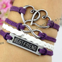 Best friend bracelet, double heart bracelet, infinity bracelet, ancient silver charm, purple cotton rope, girlfriend and BFF