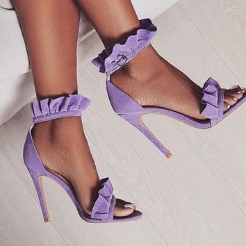 Ruffle Ankle Strap High Heels